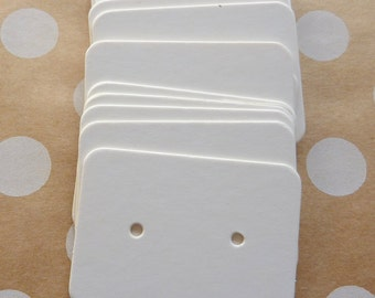 25 Small White Earrings Display Cards Crafts