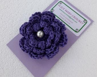 Crocheted Flower Brooch - 100% cotton yarn, handmade in UK
