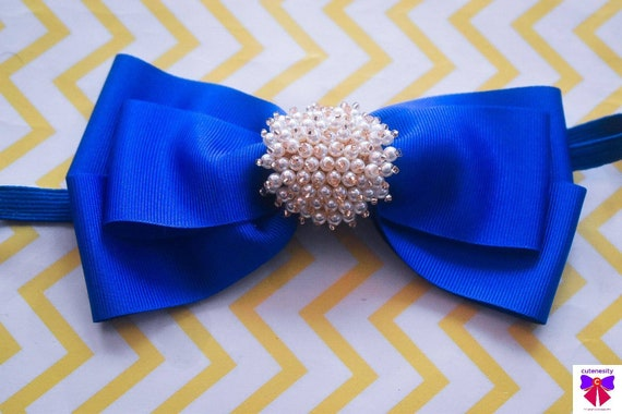 Royal Blue Grosgrain Ribbon Bow with pearly rhinestone - Baby / Toddler / Girls / Kids Headband / Hairband / Hair bow / Barette / Hairclip