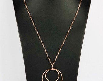 Large Lunar Eclipse 18k Rose Gold Vermeil Pendant on 80cm Chain