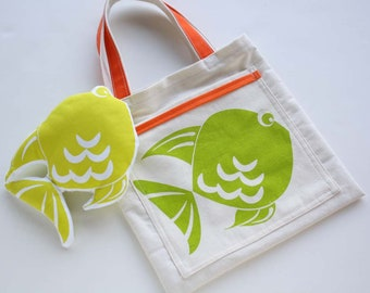 Small tote bag and fish stuffed toy -Kids tote bag - Little Cotton bag for children with fish hand printed plus stuffed toy -set bag and toy