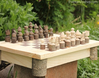 Rustic Handmade Chess Set with Storage Board, Quality Classic Wood Family Game