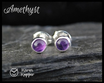 February birthstone earrings - Natural purple amethyst gemstone cabochon, 4mm, in a sterling silver bezel, Ready to ship. 100