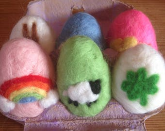 Soft Wool Easter Eggs Spring March Handmafe Waldorf Natural Bunny Egg Rainbow Colorful Rabbit Chick Sheep Shamrock