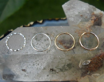 Septum Rings - Set Of 4 Septum Nose Ring Hoops - Sterling Silver 14K Yellow & Rose Gold Filled - Septum Nose Hoops - Conch Piercings