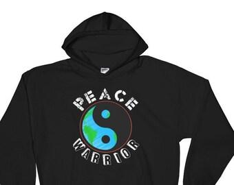 Peace Warrior, Yin Yang,Peace Sign, World Peace, Peace on Earth-Hooded Sweatshirt