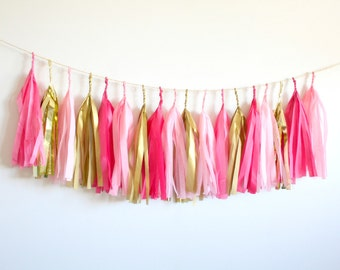 Pink and Gold Tassel Garland -  Valentines Birthday Party Decor, Bachelorette, Galentines Day, Gender Reveal, Girl Baby Shower Decorations