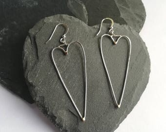 Silver jewellery. Heart earrings. Silver earrings. Long drop silver heart with touches of red 9ct gold