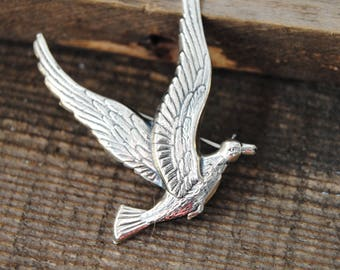 Sterling Silver Bird Pin Brooch Stamped Seagull Gull Duck Swan Birds Flight
