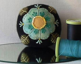 Handmade Pincushion Felted Wool Blue Flower on a Black Pincushion