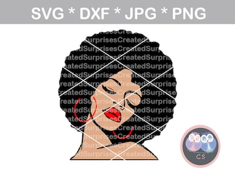 Afro woman, colored face, queen, svg dxf png jpg digital cut file for cutting machines, personal, commercial, Silhouette Cameo, Cricut