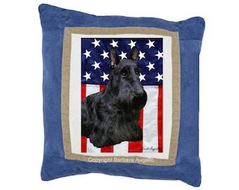 Scottie Throw Pillow, Scottie Gift, Scottie Pillow, Scottie Art, Scottie Patriotic Pillow, Scottie