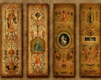 Antique Panels Bookmarks Seventeenth Century 17th Shabby Chic Book Marks Lover Library Bibliophile Printable Digital Collage Sheet 330