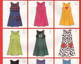 Girl's Jumper, Mid-Knee or Below Mid-Knee,Very Easy Butterick 5166 Sewing Pattern, Multi-Size 6, 7, 8, Uncut, Vintage