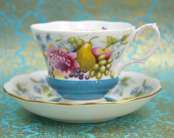 English Teacup and Saucer Set, Bone China Teacup, Country Fayre Sussex, Royal Albert China, c1977, Vintage Tea Party