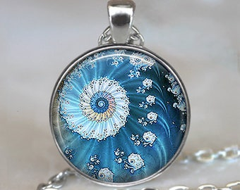 Blue Ocean Fractal necklace, fractal pendant, fractal art necklace ocean sea necklace math necklace mathematics gift key chain key ring