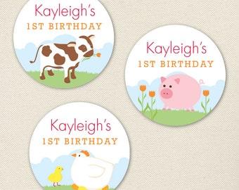 Barnyard Animals Party - Custom Stickers - Sheet of 12 or 24