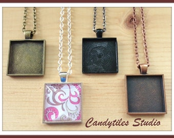 25pc..DIY Square Pendant Tray Necklace Kit..25mm...includes chains, glass tiles,  trays..Mix and Match color trays.