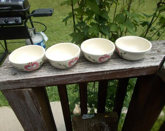 Vintage Purinton Pottery Hand Painted Slip Ware Pennsylvania Dutch Set of 4 Dessert Bowls