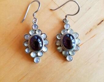 Ethnic Garnet, Moonstone and Sterling Silver Drop Earrings Vintage 1990s, Flowers/Boho/90s