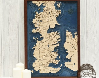 Multi Layered Map Of Westeros, Game Of Thrones.