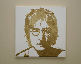 John Lennon Painting (12x12) Pop Art, The Beatles Art, Rock Art, Gold Art