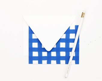 Blue and White Gingham Stationary Plaid Thank You Notes Blank Stationery Sets Bridesmaid Gift Wedding Stationery Blue and White Note Cards