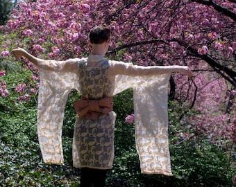 KIMONO d'or - cousu à la main / kimono robe translucide / / fait main / tissu à manches longues / courtes / femmes / femmes / xxs / xs / s / m / l