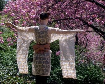 GOLDEN KIMONO - hand sewn / kimono / dress / translucent / handmade / fabric / short / long sleeved / women / womens / xxs / xs / s / m / l