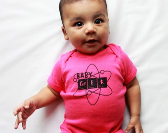 Science Baby Geek//Baby Clothes//Bodysuit//Baby One Piece//Hot Pink