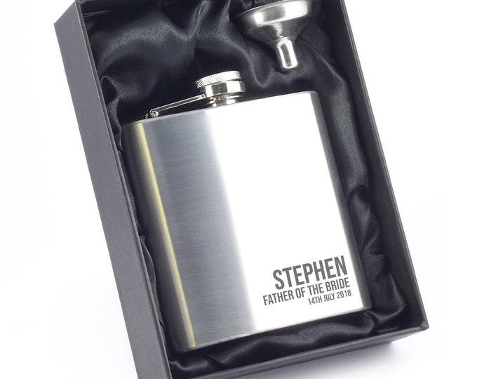 Engraved Father of the Bride hip flask personalised wedding gift, stainless steel, presentation box - 6SS_RBE1