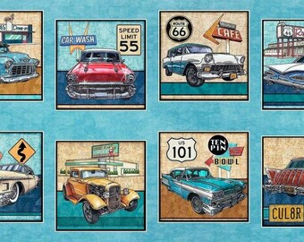 Quilting Treasures. Motorin'. Vintage Cars Picture Patch Panel 2/3 Yard - Quilting Panel - Cotton Fabric BTY - 2/3 yard panel