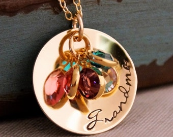 Grandma Necklace / Hand Stamped Jewelry / Personalized Grandmother jewelry / Gold Filled necklace with birthstones / Gift for Grandma