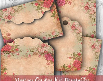 Digital Images - Digital Collage Sheet Download - Vintage Garden Sheet Envelopes, Tags & Cards - Digital Paper - Instant Download Printables