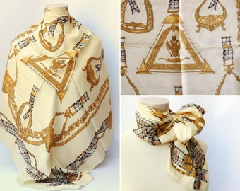 beige cream scarf rare Silk scarf Vintage 1950's ITALY shawl Square double headed eagle royal emblem stirrups belts aiguillettes scarf