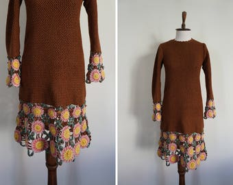 1970's Brown Crochet dress with pink and green flowers on hem and sleeves