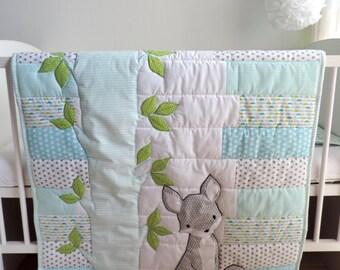 Fox Baby Boy Quilt - Woodland Nursery Bedding - Aqua Blue Grey Fox Blanket - Woodland Crib Bedding - Fox Crib Bedding - Forest Blanket Quilt
