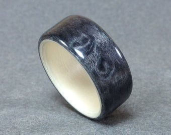 Grayed Birdseye Maple Bentwood Ring, Lined with Holly, Men's Wood Ring, Women's wood ring