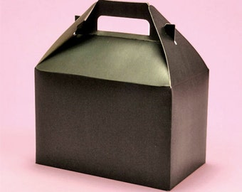 "4ct. MIDNIGHT BLACK Medium Size Gable Gift Boxes Tote Containers 8-1/2"" x 4-3/4"" x 5-1/2"" (Free Shipping!)"