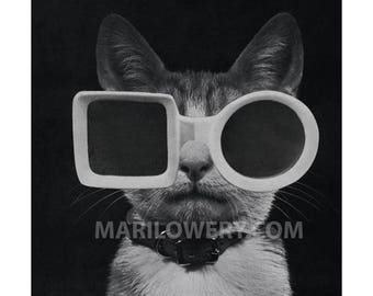 Retro Cat Art Print, Black and White, Cat with Sunglasses, Paper Collage Print, Animal Wall Decor, 7x7 on 8.5 x 11 inch paper, frighten