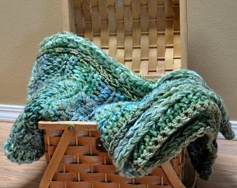 Blanket, crochet blanket, green and blue crochet throw, soft throw blanket