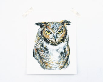 Owl 8x10 Art Print - Great Horned Owl Woodland Giclée Print