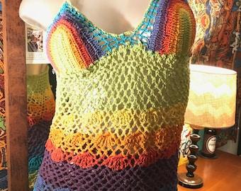 Rainbow Crochet Halter Top/Dress