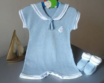 Hand Knitted Baby Boys Sailor Suit.