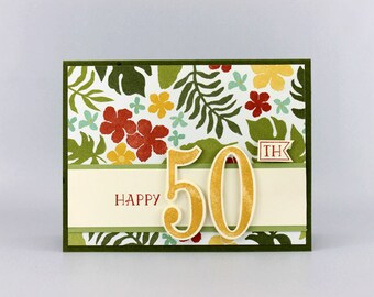 Happy 50th Birthday Card - Personalized Hand Stamped Card - Handmade Milestone Birthday Card - Sweet 16 Card - Happy 21st Birthday Card