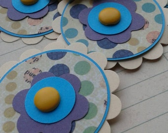 Polka Dot Scalloped Flower Tag Embellishments for Scrapbooking or Card Making