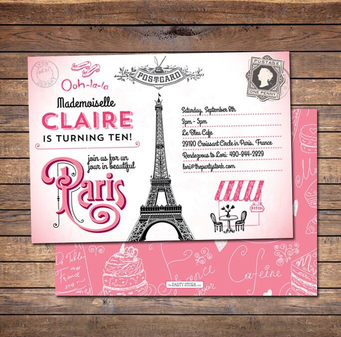 Paris Invitation Paris Birthday Invitation Paris Party