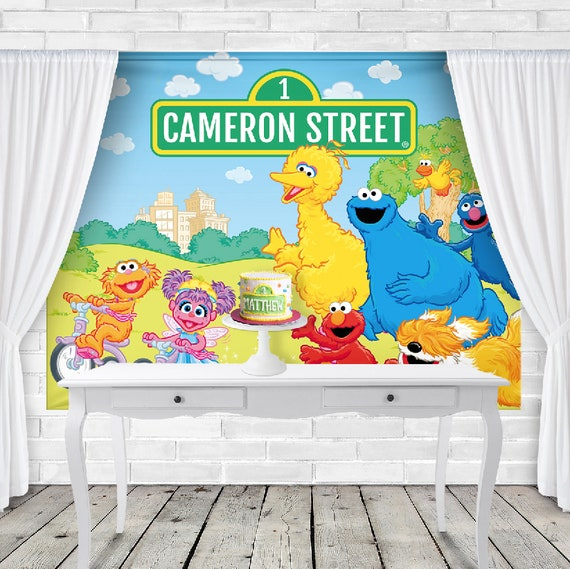 Sesame Street Birthday Backdrop Personalized Banner Elmo