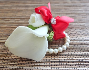 Wrist Corsage, White Calla Lily and Red Ribbon Corsage