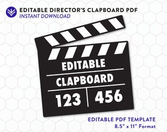 Directors Clapboard Template | Instant Download | Editable Hollywood Director Sign